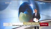 Cold snap brings winter back to Xinjiang and Gansu