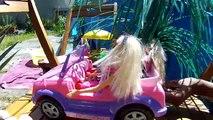 avec ma Barbie et mes poupées dans ma piscine