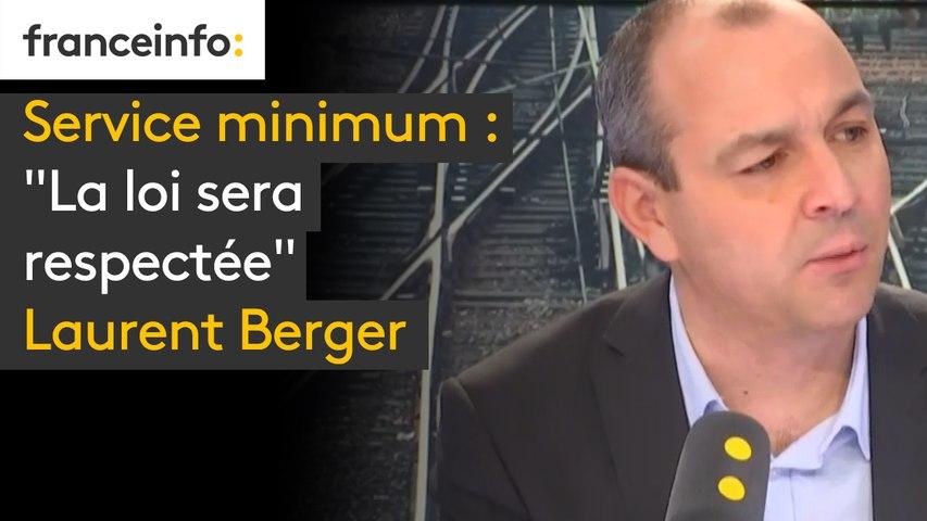 """Service minimum """"La loi sera respectée"""" affirme Laurent Berger. """"Le ballon est dans la partie de terrain du gouvernement, qu'il le joue"""""""