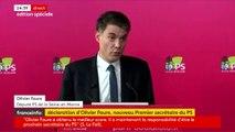 """Olivier Faure, élu premier secrétaire du Parti socialiste, se félicite de la """"mobilisation"""" des militants : """"Je veux leur dire mon engagement total. Dans cette mobilisation, je vois le signe d'un parti vivant, affaibli c'est vrai mais debout""""."""