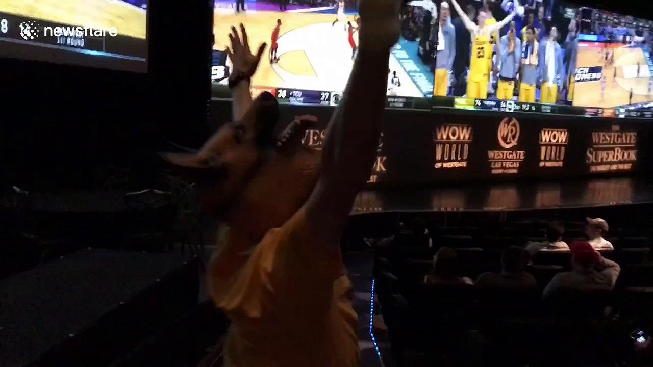 Lone UMBC fan at Las Vegas casino celebrates team's historic upset win