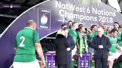 Grand Slam Champions Ireland lift the 2018 trophy!  NatWest 6 Nations