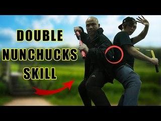 Amazing double nunchucks like bruce lee