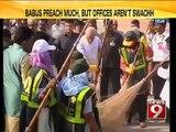 NEWS9: Delhi, Babus preach much, but offices aren't swachh