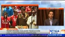 El  estratega en jefe de XP Securites,  Alberto Bernal, aseguró a NTN24 que, pese a que el presidente de Venezuela, Nicolás Maduro, buscaba obtener dólares con el lanzamiento de El Petro, las medidas anunciadas este lunes por Estados Unidos han acabado co