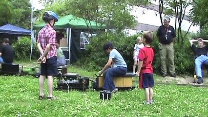 Echtdampf Livesteam Gartenbahn, Tigerli Benzol-Köf ,7 1:4 und 5 Zoll Gleise, Leverkusen 2009