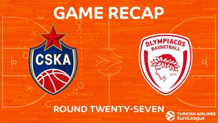 EuroLeague 2017-18 Highlights Regular Season Round 27 video: CSKA 89-81 Olympiacos