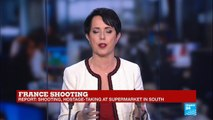 France: Shooting, hostage-taking at Supermarket in South - hostage taker claims allegiance to Islamic state group
