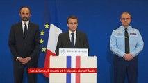 """#Trèbes #Carcassonne : """"Un individu a tué 3 personnes et en a blessé 16 autres, dont au moins deux sont dans un état grave"""", Emmanuel Macron"""
