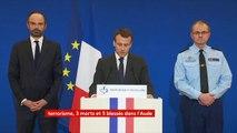 """#Trèbes #Carcassonne  """"L'enquête devra apporter des réponses à un certain nombre de questions importantes : quand et comment s'est-il radicalisé ? Où s'est-il procuré cette arme ?"""", Emmanuel Macron"""