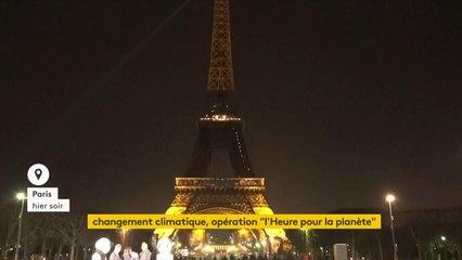 Heure pour la planète : les lumières de la Tour Eiffel ont été éteintes hier soir pour sensibiliser au problème du réchauffement climatique #EarthHour