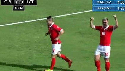 Liam Walker Goal - Gibraltar 1-0 Latvia 25-03-2018