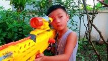 Gun & Gun - Superheroes action nerf war Sniper MEGA vs Sniper N-Strike _ GUN BABY 9