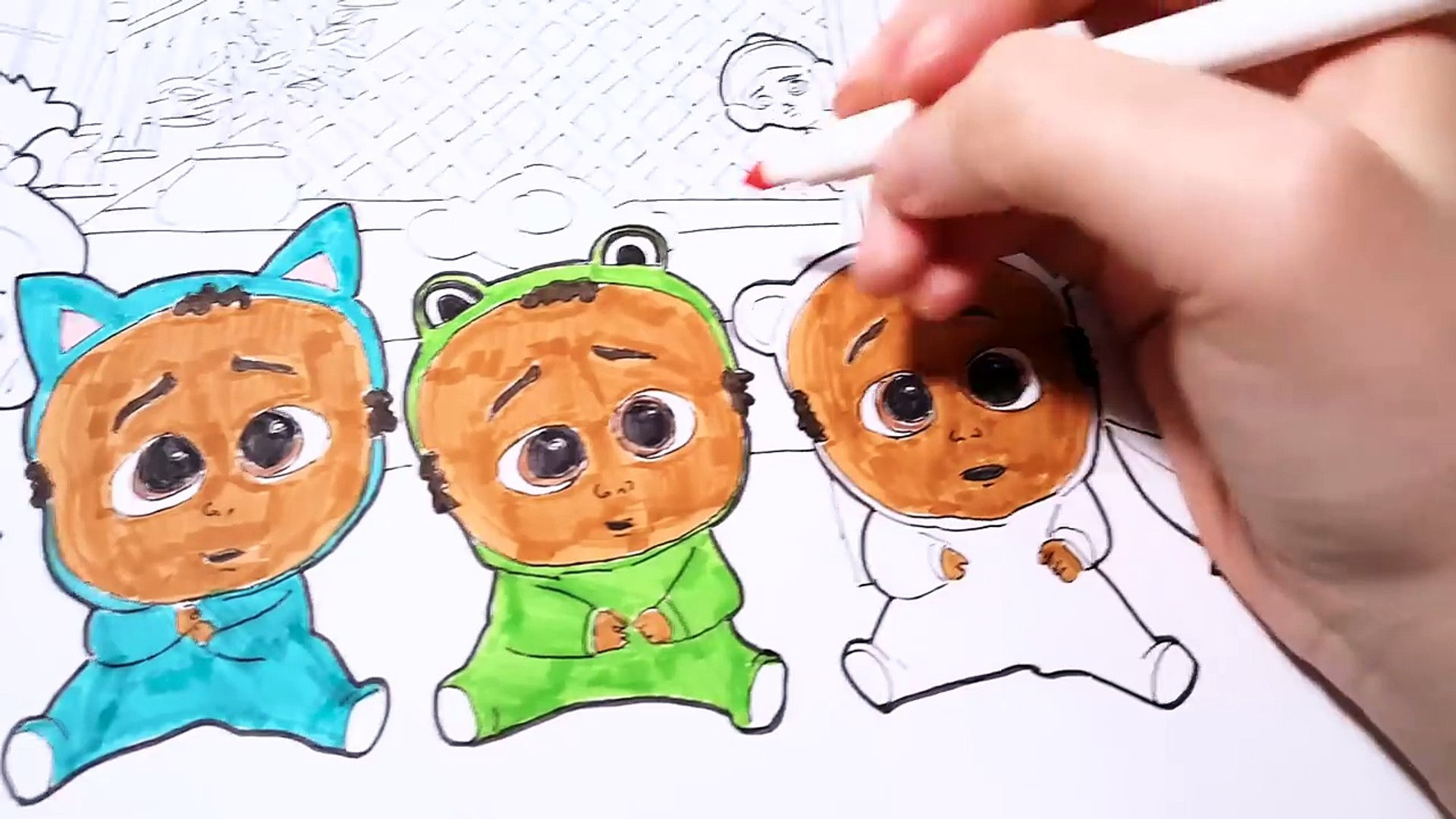 The Boss Baby Movie Triplets Jimbo Staci Coloring Pages Book Video For Kids