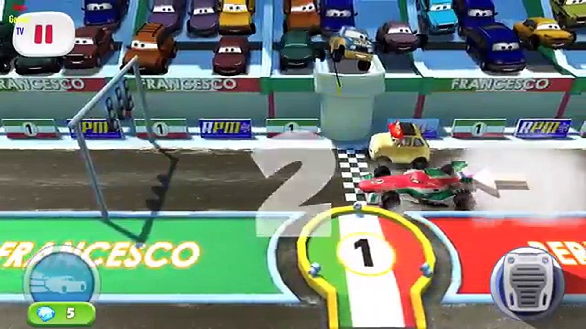 Disney Pixar Cars Fast as Lightning - Francesco Stage 1/4 vs Luigi, Guido, DJ