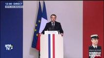 """Hommage à Arnaud Beltrame: """"Chef des Armées, moi aussi j'ai espéré"""", dit Macron"""