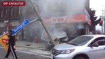 Une voiture s'ecrase dans un magasin en ratant son virage