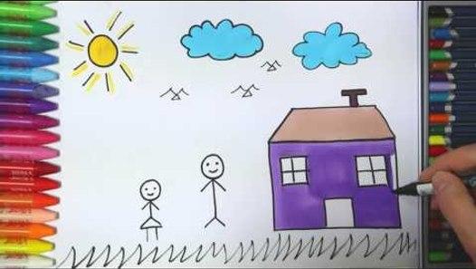 Cocuk Ev Gunes Bulut Nasil Cizilir Cizelim Boyayalim Video