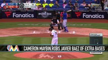 Cameron Maybin Robs Javier Baez of Extra Bases As Marlins Top the Cubs