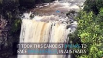 Kayaker goes over huge waterfall in Australia