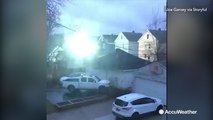 High winds cause power line explosions that caused outages in New York