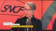 """Négociation avec les syndicats : """"La CGT est contre l'ouverture à la concurrence par principe. Si on discute 2 heures d'un sujet dont ils ne veulent pas parler, je peux comprendre qu'ils trouvent ça long et pénible"""", réagit Elisabeth Borne"""