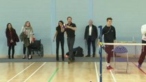 Prince Harry throws a ball at the Invictus Games volleyball trials at the University of Bath