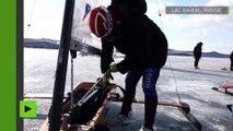 [Insolite] Traversée spectaculaire du lac Baïkal (Russie) en chars à glace !