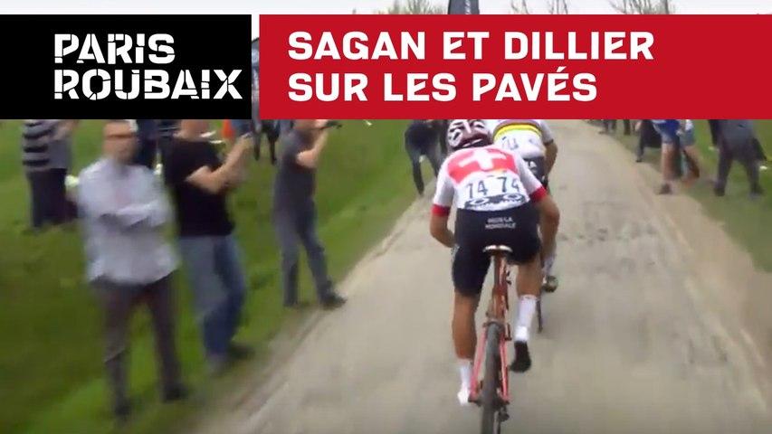 Sagan et Dillier sur les pavés - Paris-Roubaix 2018