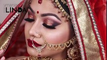 Red Asian Bridal Makeup Tutorial 2017 - Gorgeous Glittery Eyes with Red Lips- Indian Wedding Makeup