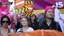 Protestas en Bruselas por la llegada de Trump a Bélgica para una cumbre de la OTAN