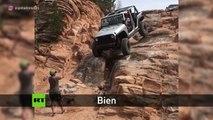 Una actividad para personas con nervios de acero: Un todoterreno se lanza montaña abajo entre rocas