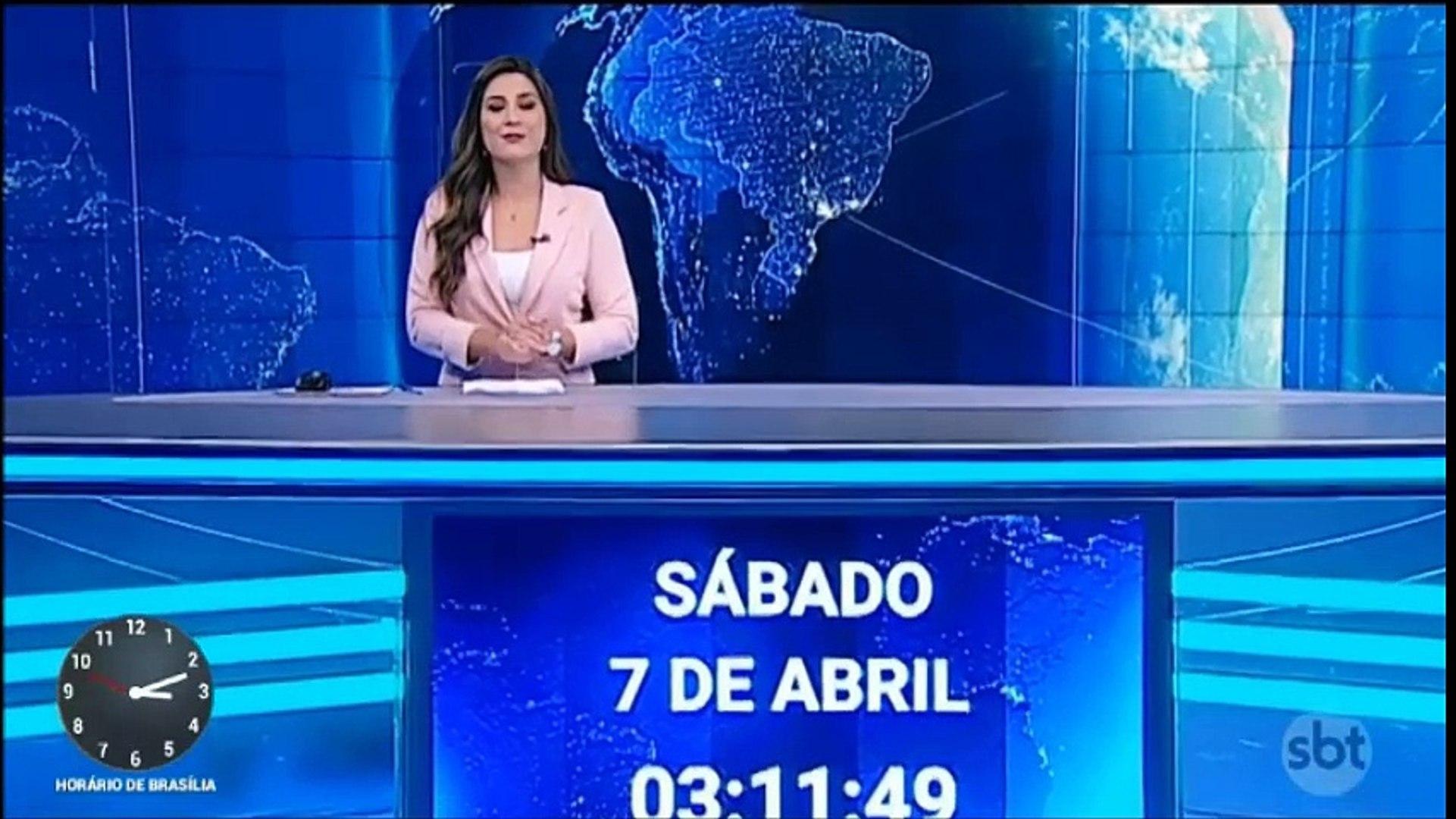 Inicio do SBT Notícias (07/04/18) com Kallyna Sabino (03h11) (Sábado)
