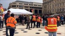 Manifestation des étudiants de la Fac de lettres et des cheminots à Nancy