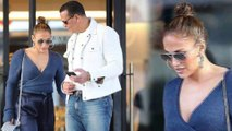 Jennifer Lopez is stylish in shades of blue as she and Alex Rodriguez take daughters shopping in Los Angeles.