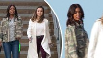 Jessica Alba sports white coat as costar Gabrielle Union dons camouflage jacket on Bad Boys spinoff.