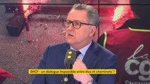 """Grève à la SNCF : """"Cette réforme est absolument impérative pour permettre de donner un avenir à la SNCF, pour améliorer les services. Les cheminots eux-même souffrent"""" du manque de modernisation, considère Richard Ferrand #8h30politique"""