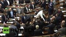 Pelea a puñetazos en la Rada ucraniana