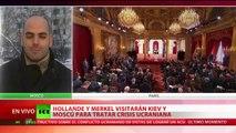 Hollande y Merkel se dirigen a Moscú para debatir la crisis en Ucrania con Putin