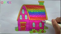 Rainbow House Colorful Coloring | How to Draw House Colours Children Drawing Cp-4K | Educational child channel