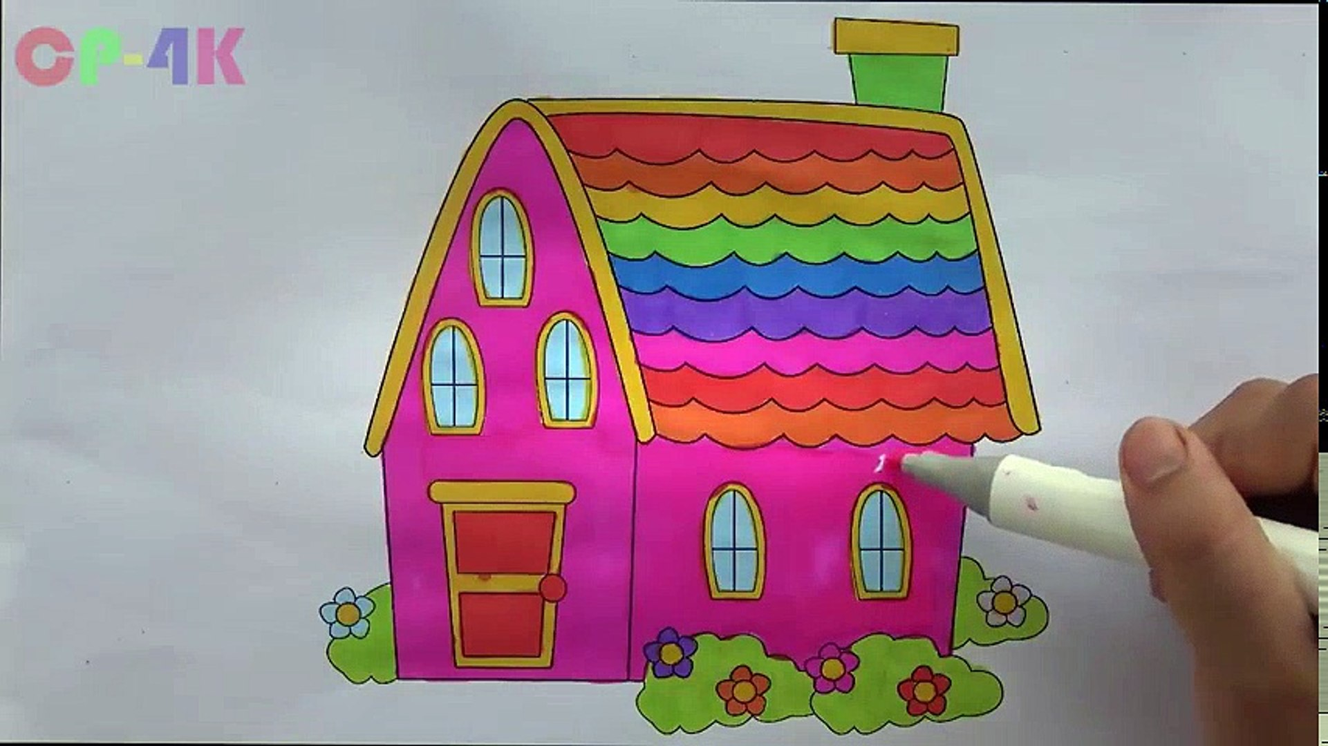 Rainbow House Colorful Coloring How To Draw House Colours Children Drawing Cp 4k Educational Child Channel Video Dailymotion