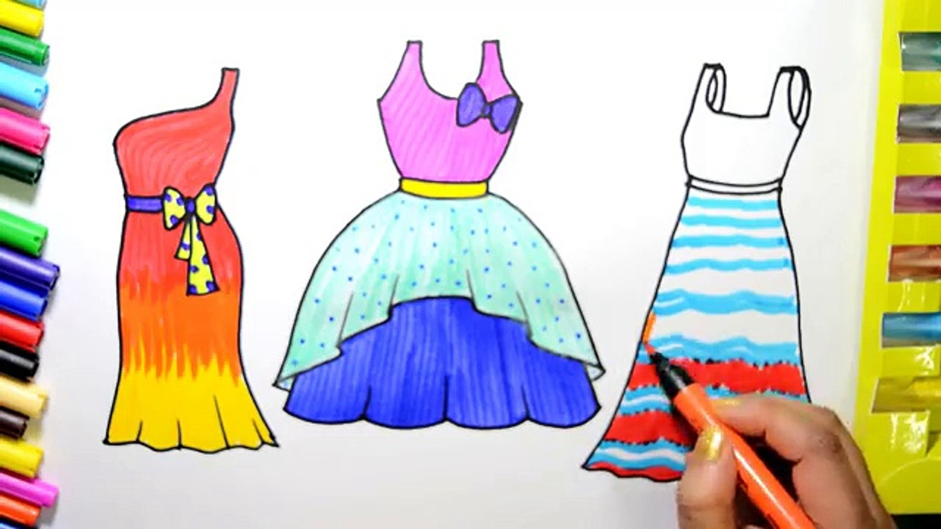 Draw Color Paint Barbie Pretty Dresses Coloring Page And Learn Colors For Kids Video Dailymotion Then, extend one of the lines past the bottom of the v. at the. draw color paint barbie pretty dresses coloring page and learn colors for kids