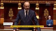 """""""Aucune solution politique ne sera trouvée tant que l'utilisation de l'arme chimique restera impunie"""", affirme Edouard Philippe devant l'Assemblée nationale. """"Nous ne sommes pas entrés en guerre contre la Syrie""""."""