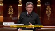 """""""Nous sommes intervenus sans preuves. Nous avons agi sans mandat de l'ONU. C'est sans doute pour la France le coup le plus important porté à sa diplomatie"""", déclare Jean-Luc Mélenchon (La France insoumise)"""