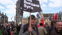 Anti-Syria airstrikes protests outside Houses of Parliament