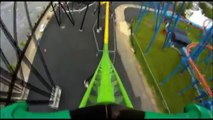 Green Lantern POV Roller Coaster Front Seat Six Flags Great Adventure New Jersey SFGadv