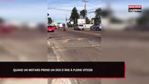 Voici ce qui arrive lorsqu'un motard prend un dos d'âne à pleine vitesse (Vidéo)