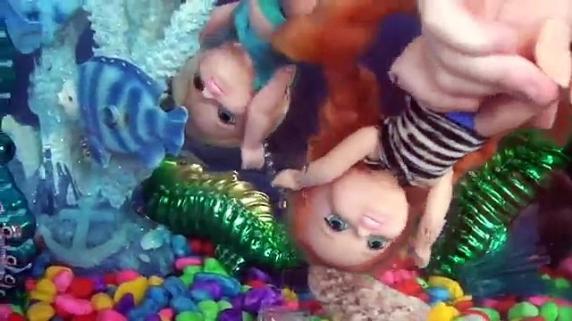 Annia and Elsia Toddlers New Aquarium Swimming Pool Trip Dory Family Kids Story Dolls Toys In Action