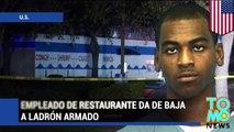Empleado en restaurante de mariscos da de baja a ladrón que intento robar el lugar