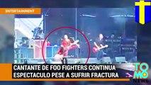 Dave Grohl, cantante de Foo Fighters sufre accidente durante concierto pero decide continuar